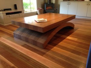 Spotted Gum Veneer coffee table 1200 x 800 x 450