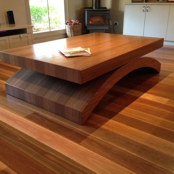 Spotted Gum Veneer coffee table 1200 x 800 x 450