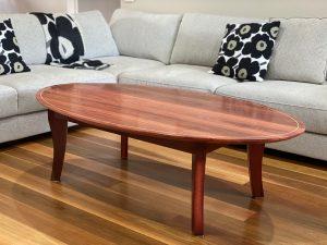 Jarrah elliptical table 1500 X 750x 450 with Koto stringing