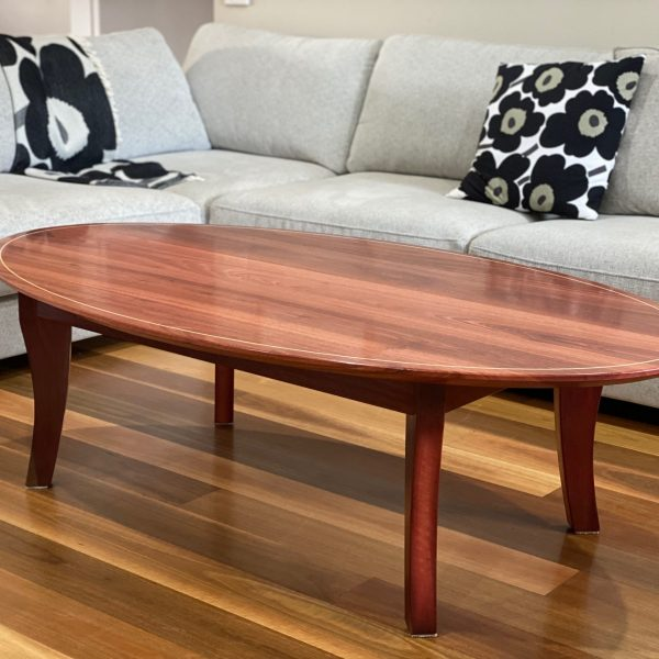 Jarrah elliptical table 1500 X 750x 450 with Koto stringing